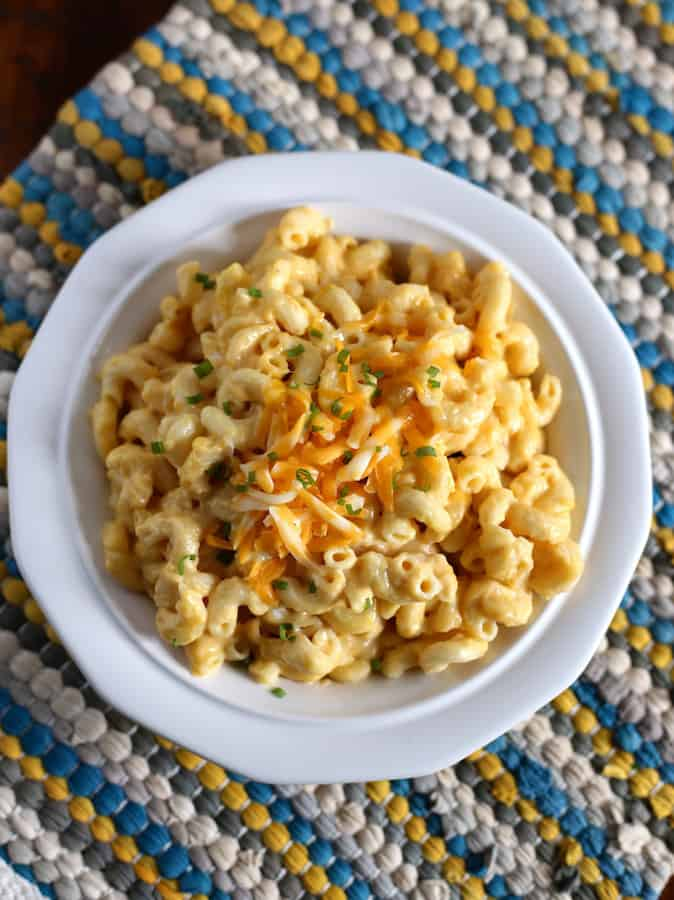 Pressure Cooker Mac and Cheese. Topped with Scallions and extra Cheese.