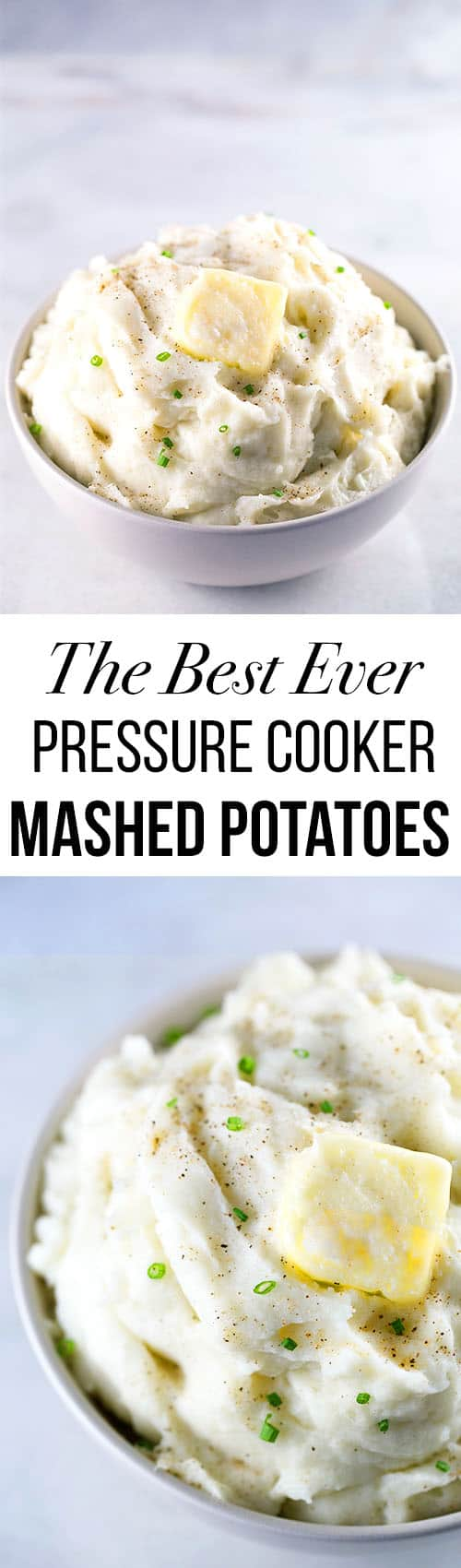 Pressure Cooker Mashed Potatoes   The BEST recipe for creamy mashed potatoes.   Garlic Variation Included