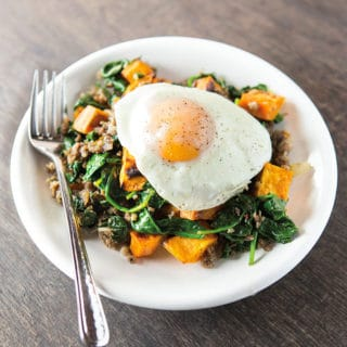 Easy Sweet Potato Hash with Spinach and Sausage