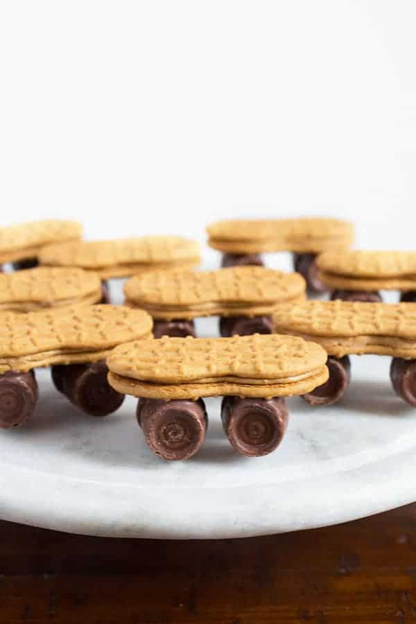 Nutter Butter Skateboards with Rolo Wheels | Fun and Easy No-Bake Cookies | Perfect for Boy's Birthday Parties
