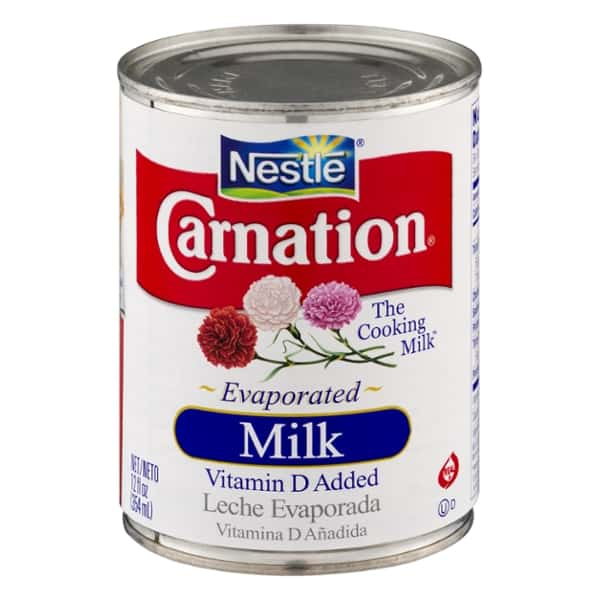 Can of Carnation evaporated milk.