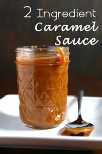 2 Ingredient caramel sauce in jar with spoon next to it.