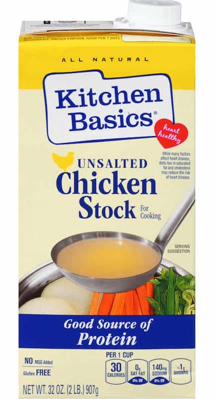 Kitchen Basics unsalted chicken stock in carton.