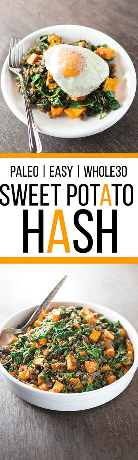 Easy Sweet Potato Hash |This Spinach and Sausage Hash is Great for Breakfast or Dinner | Paleo, Gluten-Free and Whole30 Friendly