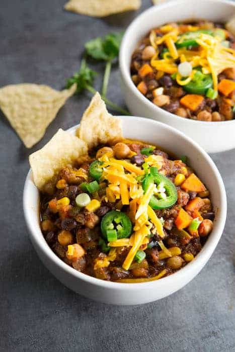 Pressure Cooker Vegetarian Chili is Easy To Make on a Busy Weeknight.