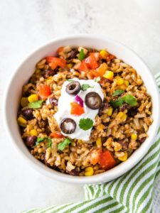 Instant Pot Beef, Black Bean, and Rice Taco Bowls