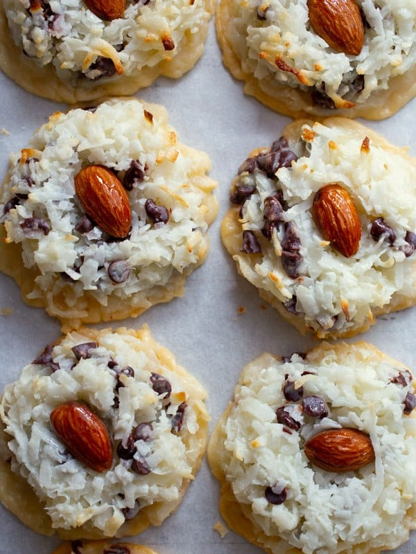 Baked coconut macaroons with chocolate chips and almonds