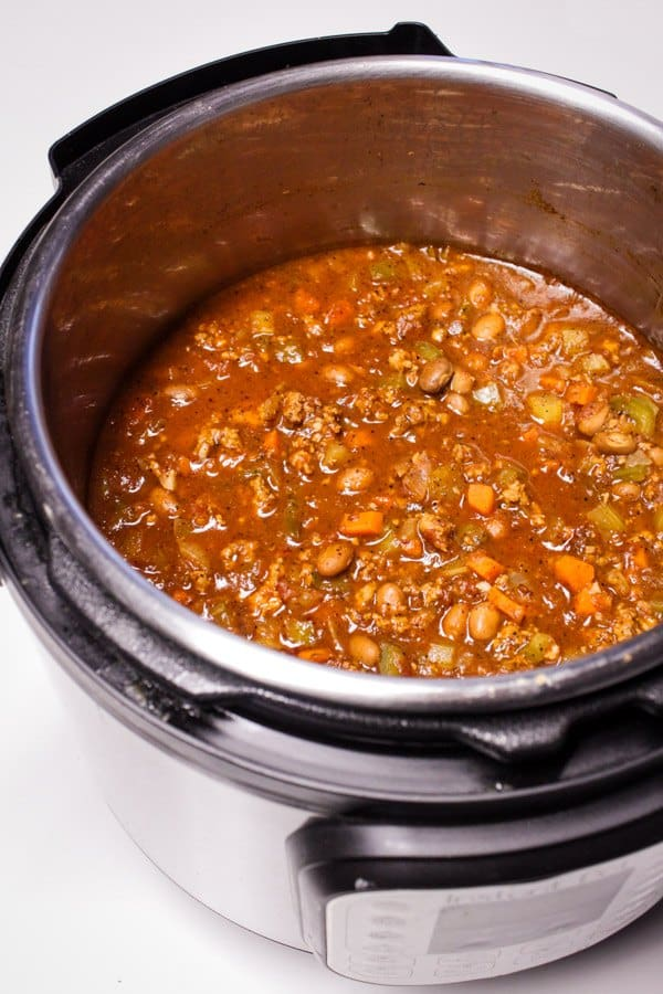 Cooked turkey chili in Instant Pot