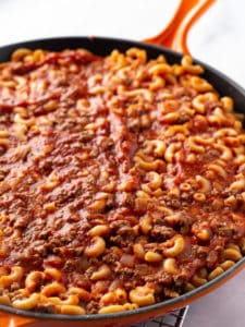 Cooked American Goulash. Pasta, Ground Beef, and Tomato Sauce in Pan.