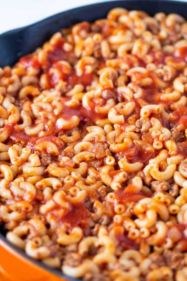 Close up of cooked American Goulash. Pasta, Tomato Sauce, and Ground Beef