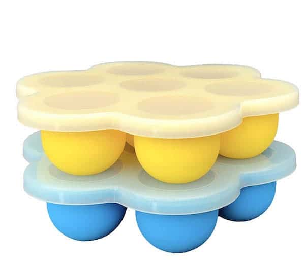 Yellow Egg Bite Mold Stacked on Blue Egg Bite Mold