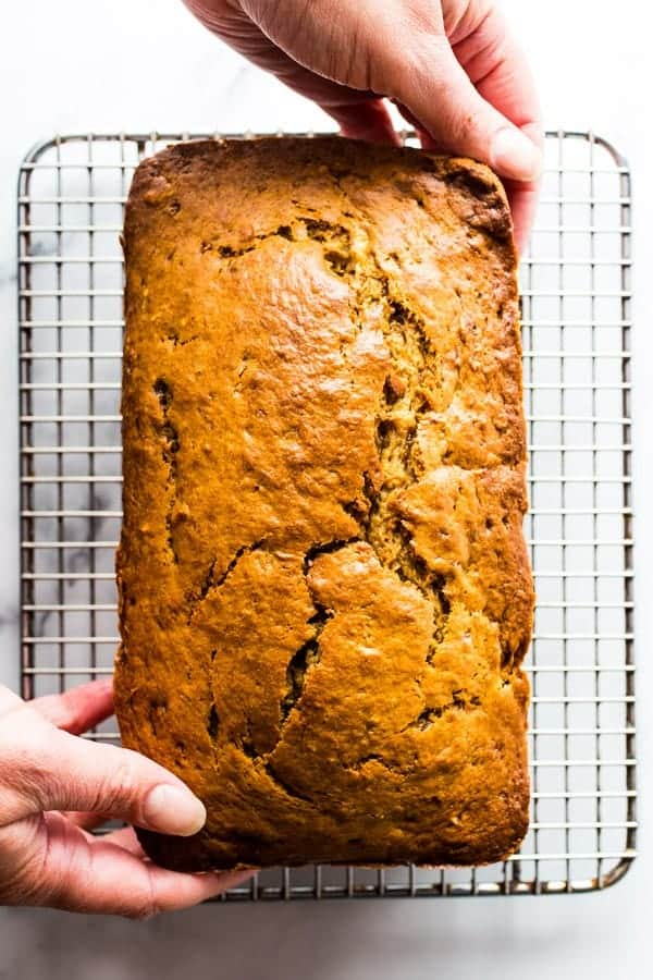 Baked Banana Bread with Brown Sugar on Cooling Rack