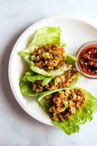 PF Chang's Chicken Lettuce Wraps. Three on Plate.