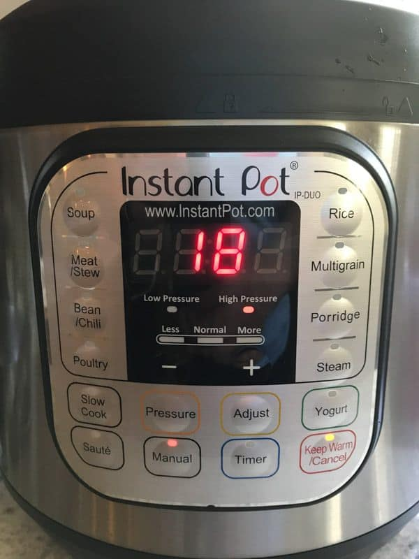 18 Minutes displayed on the Instant Pot.