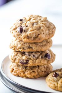 Stack of brown sugar oatmeal cookies