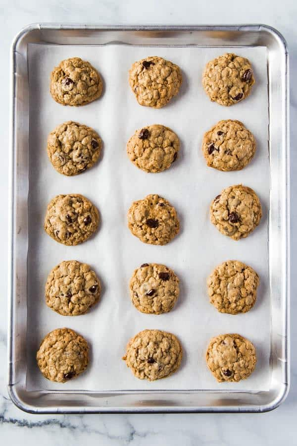 15 brown sugar oatmeal cookies with chocolate chips on pan