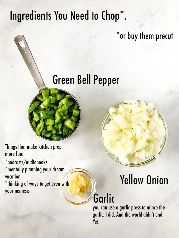 Chopped green bell pepper, chopped onions, and minced garlic in bowls. Text on image labels the ingredients.