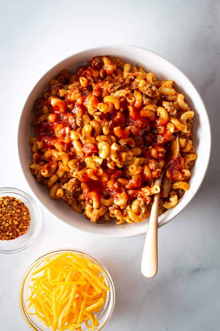 Instant pot goulash (pasta and beef) in a serving bowl.