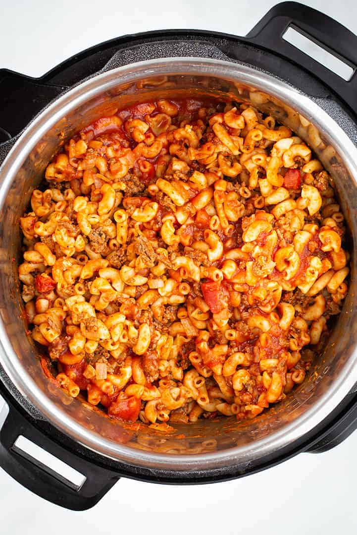 Instant pot goulash cooked. (pasta and beef)