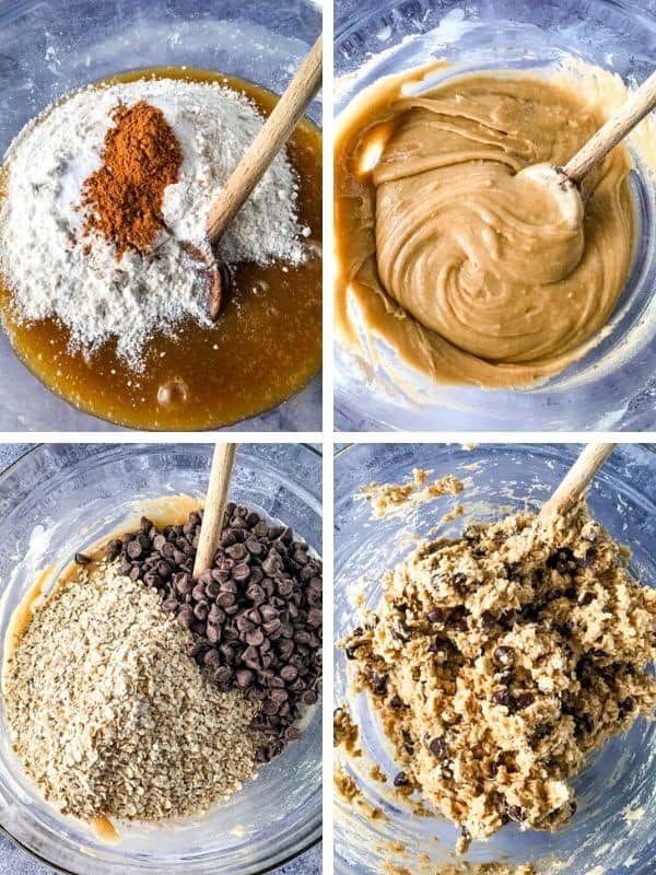Four images showing dough being mixed for oatmeal chocolate chip bars