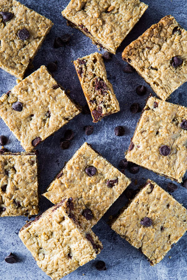 Overhead image of baked oatmeal chocolate chip cookie bars.