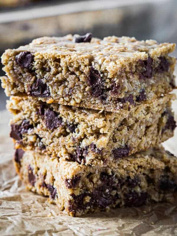 Stack of oatmeal chocolate chip cookie bars.