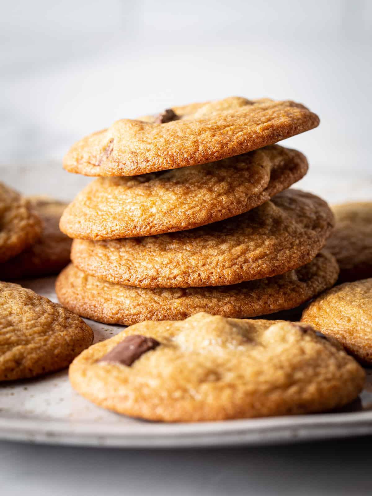 Stack of brown sugar chocolate chip cookies