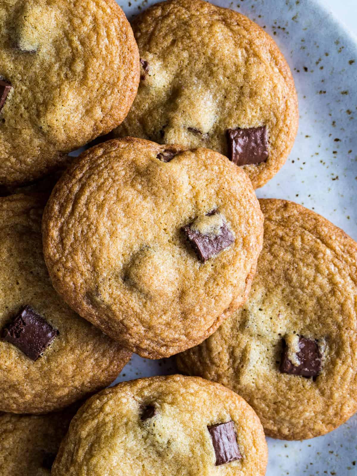 Plate of brown sugar chocolate chip cookies.
