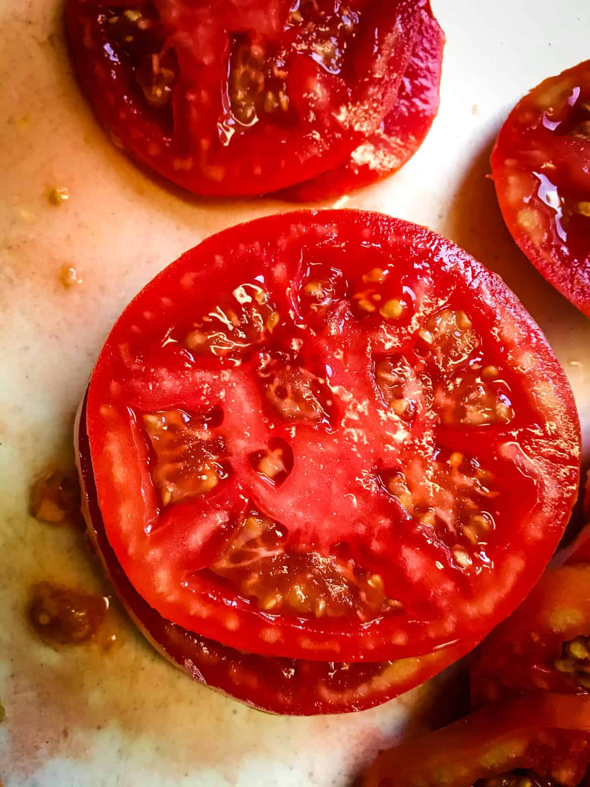 Sliced ripe red tomato for BLT.