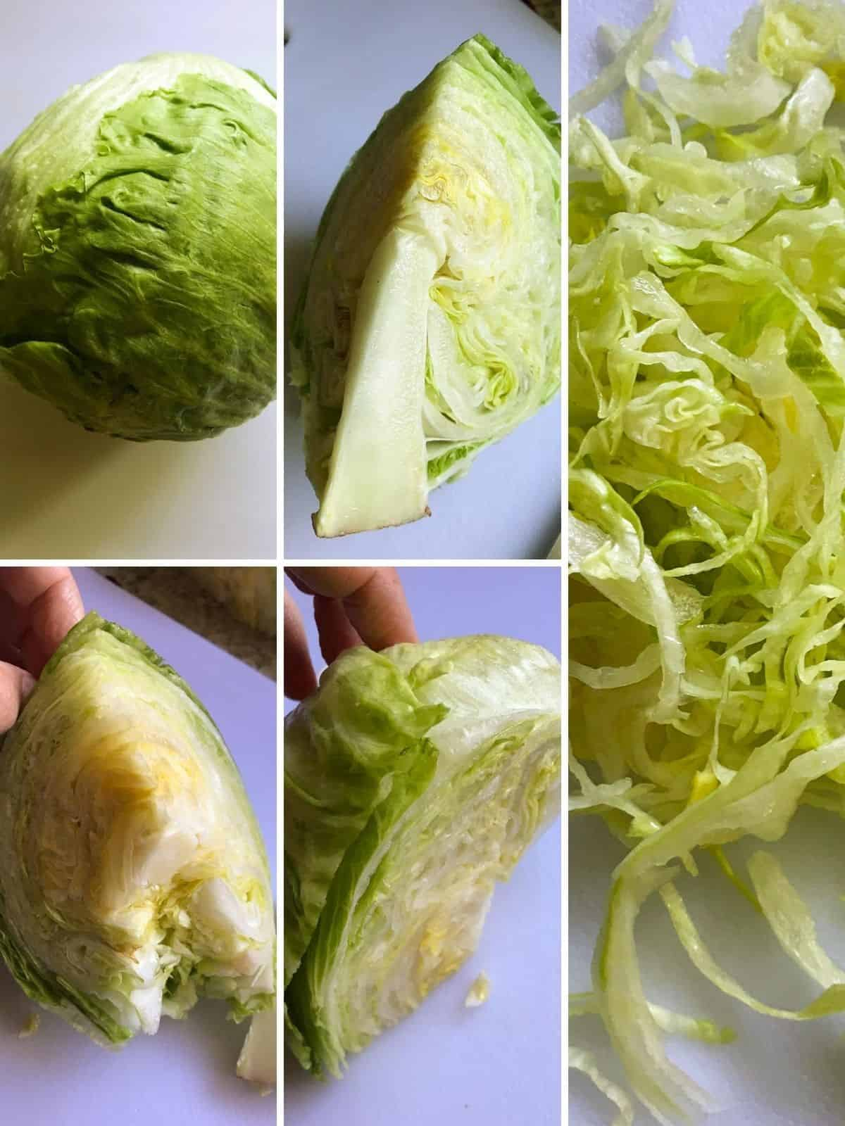 Lettuce being shredded for BLT.