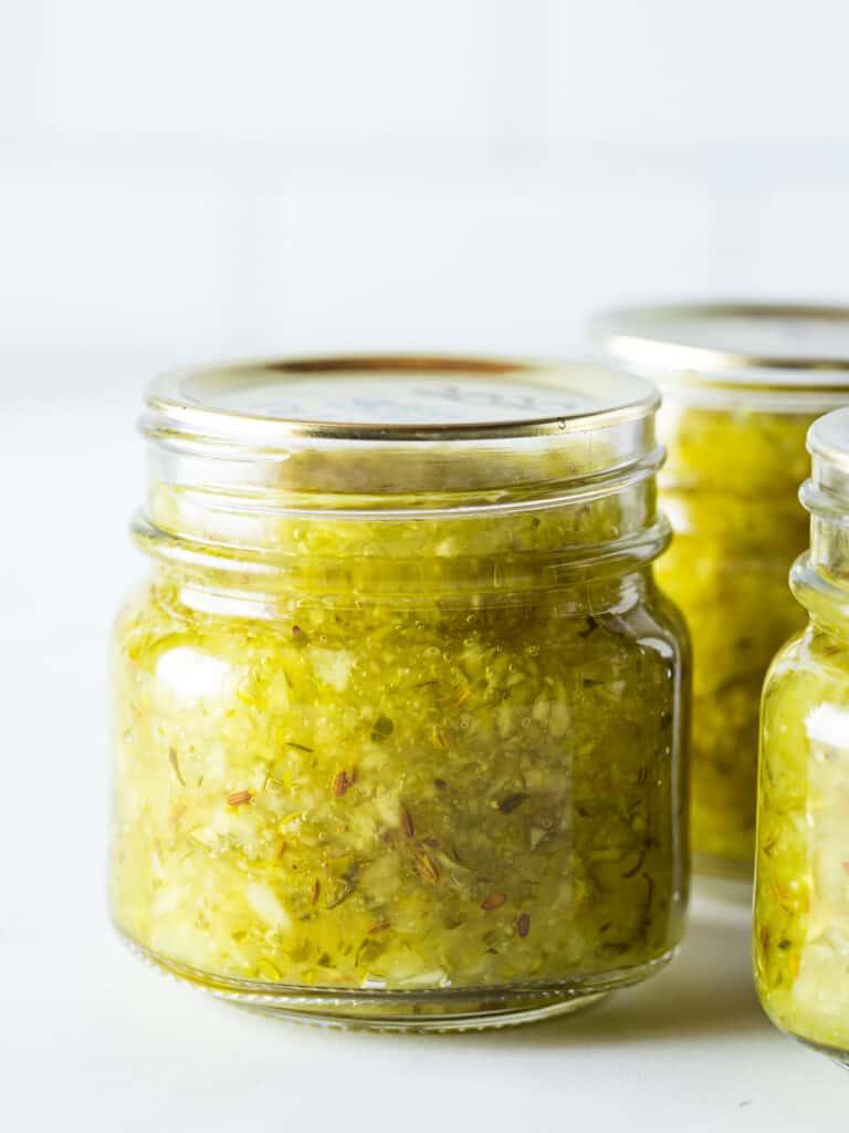 Homemade dill relish in pint jar.