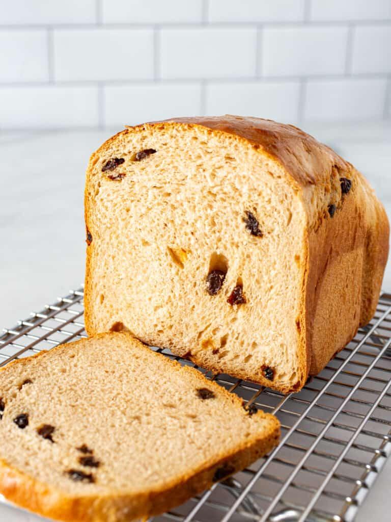 Cinnamon raisin bread loaf sliced.