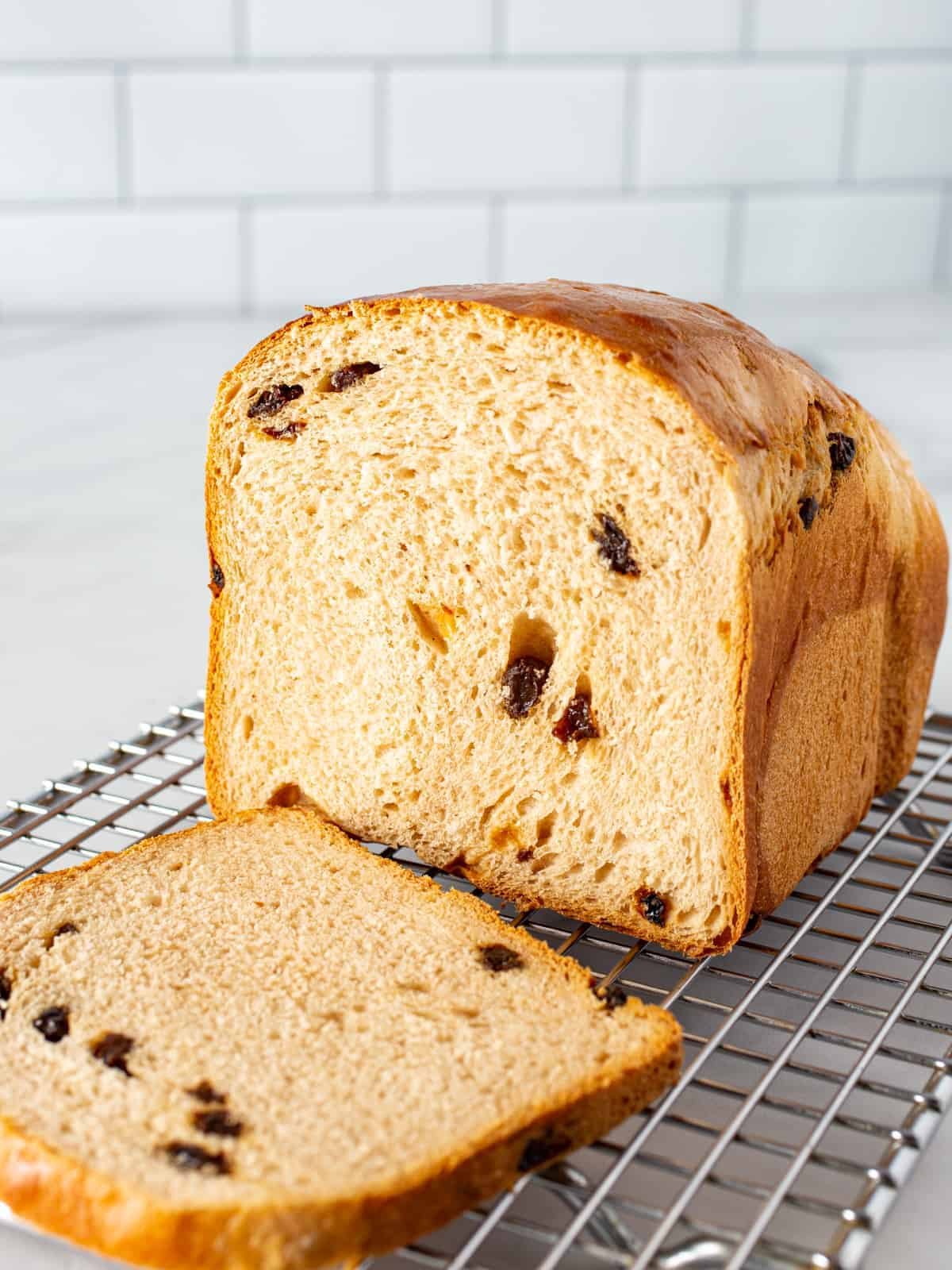 Cinnamon raisin bread loaf sliced.