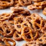 Cinnamon sugar pretzels on baked sheet.