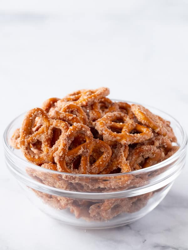 Bowl of cinnamon sugar pretzels.