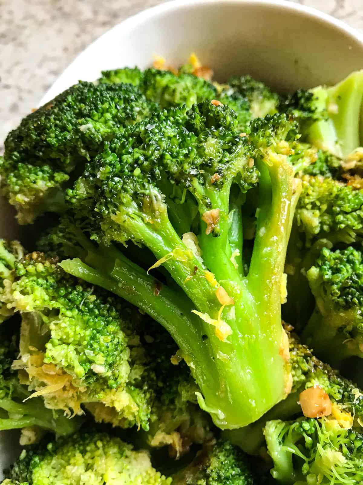 Cooked frozen broccoli floret.