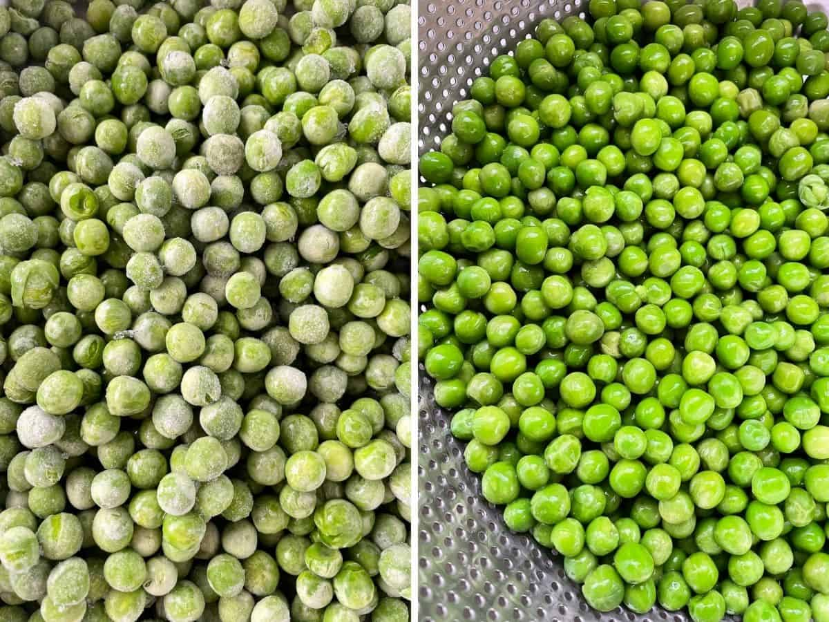 (left) Frozen peas. (right) Thawed peas.