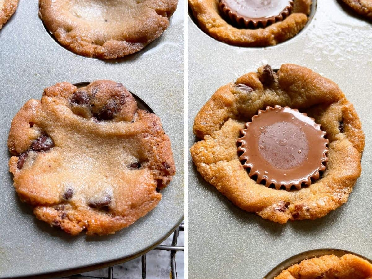 (Left) Baked chocolate chip cookie dough in pan. (right) Peanut butter cup pressed into chocolate chip cookie.